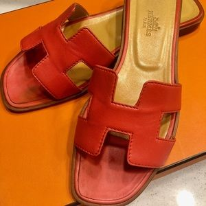 Authentic* Hermes Red Oran Sandals